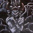 Ett spindelinspirerat monster med flera armar och ansikten