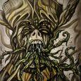 En man med hög konstig hatt som har tentakler som kommer ur munnen