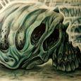 En muterad dödskalle i grönblå nyanser