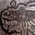 Ett fossil med människa, fisk och get